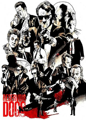 1990's Movie - RESERVOIR DOGS - SKETCH ART RED / canvas print - self adhesive poster - photo print